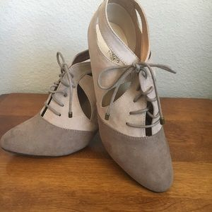 Taupe and Tan Faux Suede Shoes 👠